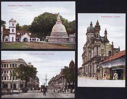 3 SUPERB CARDS CEYLON - COLOMBO --- Mosque - York Street - Temple - Sri Lanka (Ceylon)
