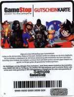 @+ Carte Cadeau - Gift Card : GameStop Autriche - Verso SAMPLE - Mario - Sonic ... - France