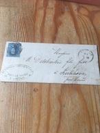 Lettre Louvain (sc) 1860 Avec Numéro 11 Vers Kerkhove Par Gand Verso D.C Audenaerde - Belgium