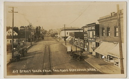 Real Photo No 7 Street Scene From Railroad Vancouver Garage Tram Advert - Vancouver