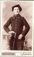 PETIT PHOTO SUR CARTON FORT  PHOTO FAVRAT ANNECY 11e CHASSEURS ALPINS - Guerre 1914-18
