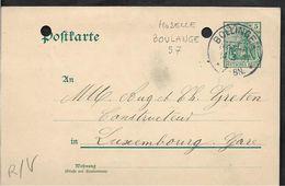 BOULANGE Moselle CAD De 1907 Sur Entier Allemand BOLLINGEN - 1877-1920: Periodo Semi Moderno