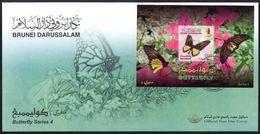 (040) Brunei  Butterflies Series 4 / Papillons / Schmetterlinge / Vlinders / Rare / Scarce / FDC  Michel BL 49 - Brunei (1984-...)