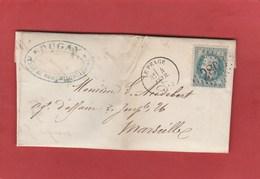 Isère - Le Péage - GC2803 Sur N°29 - LAC 1870 Vers Marseille - Marcophilie (Lettres)