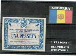 ANDORRA NOTA BILLET 1936 BLEU CIRCULÉ UNA PESSETA - Andorra