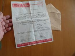 Lettre + Document Publicitaire La Vie Des Métiers Café Restaurants Lyon  En PP 1959 - Alimentaire