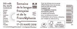 2018 Carnet Lettre Prioritaire  Francophonie - Non Plié - Carnets