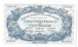 Banque Nartionale De BELGIQUE - BILLETS Cinq Cents Francs Ou Cent Belgas - Belgium