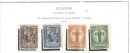 Ecuador PA 1946 Mariana Paredes Scott.C161/164+ See Scans On Scott.Page - Ecuador