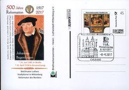 32190 Germany,pluskarte 2017  Individuel For 500 Year Reformation (luther)showing Reformation Altar,j.bugenhagen - Christendom