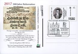 32192 Germany,pluskarte 2017  Individuel For 500 Year Reformation (luther)showing  Georg Rorer - Christianity