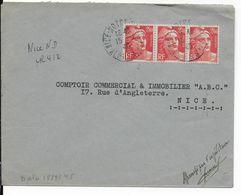 1945 - GANDON - ENVELOPPE RECOMMANDEE PROVISOIRE De NICE NOTRE DAME (ALPES MARITIMES) - Postmark Collection (Covers)