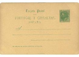 SPAGNA - INTERO POSTALE  - PER IL PORTOGALLO E GIBILTERRA  ANNO 1884 - NON VIAGGIATO - 5 CENTIMOS - Interi Postali