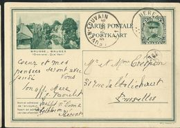 Carte Obl. N° 9. 5. Brugge  - Bruges  (Quai Vert)  Obl. Herent 1930 + Leuven -Louvain 1 - Cartes Illustrées