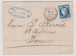 Cérès N° 60 A Position 88 G3 1er état GC 6325 Marseille Sur Lettre 2 Scans - 1871-1875 Cérès