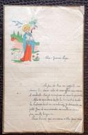 Manuscrit. 1..  Lettre Avec En Entête Un Dessin Religieux Datée De 1937. - Manuscritos