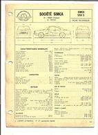 FICHE TECHNIQUE VOITURE SIMCA 1200 S - Auto's