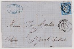 Cérès N° 60 A Position 91 G3 3éme état GC 3219 Rouen Sur Lettre 2 Scans - 1871-1875 Cérès