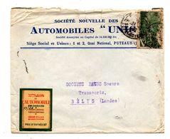 """Societé Nouvelle Des Automobiles """"Unic"""". Enveloppe Avec Vignette Salon De L'automobile 1938. - Coches"""