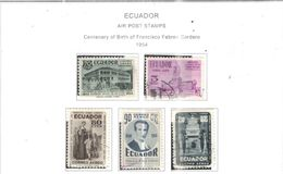 Ecuador PA 1954 Cent.Nascita Cordero   Scott.C272/276 See Scans On Scott.Page - Ecuador