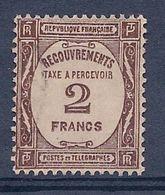 FRANCE - TAXE 62 2F SEPIA OBL USED COTE 31 EUR - Taxes