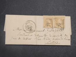 FRANCE - Lettre De Albi Pour Paris En 1869 , Oblitération GC 55 Sur Paire De Napoléon - L 15218 - 1849-1876: Période Classique