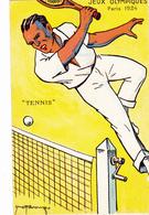 """CPA Jeux Olympiques PARIS 1924 Sport """"Tennis"""" Illustrateur (2 Scans) - Giochi Olimpici"""