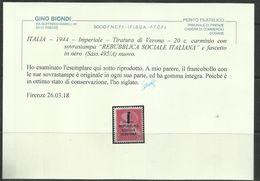 ITALIA REGNO ITALY KINGDOM 1944 REPUBBLICA SOCIALE ITALIANA RSI GIULIO CESARE CENT. 20c  FASCIO MNH CERTIFICATO - 4. 1944-45 Repubblica Sociale