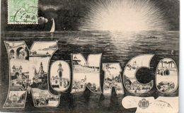 83Ve  Monaco Multivues Dans Lettres Soleil Couchant - Panoramic Views
