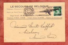Karte, EF Merkur, MS Flugzeug Bruxelles, Nach Somme-Leuze 1935 (48727) - Belgien