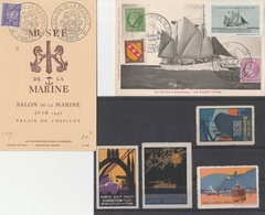 BATEAUX/MARINE - OBLIT. COMMEMO. PARIS / NANTES + 4 VIGNETTES (Rhin=aminci Sans Gomme) - 1921-1960: Periodo Moderno