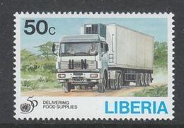 TIMBRE NEUF DU LIBERIA - CAMION DE RAVITAILLEMENT (50E ANNIVERSAIRE DES NATIONS UNIES) N° Y&T 1296 - Trucks