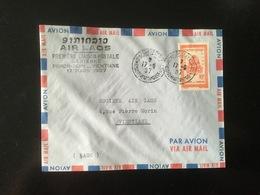 LETTRE PAR AVION  PREMIERE LIAISON POSTALE AERIENNE PHNOM - PENH - VIENTIANE  17 MARS 1957 - Camboya