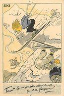 Ref W304- Sports - Illustrateurs -illustrateur Pellos - Anneaux Olympiques -olympisme -sports D Hiver - Ski -skieurs - - Sports D'hiver