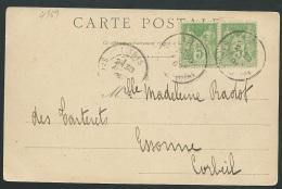 Yvert N° 102 Paire  Oblitéré Leynes ( Saone Et Loire ) Au Dos D'1 Cpa Précurseur  Statue De Lamartine   Lh13908 - 1898-1900 Sage (Type III)