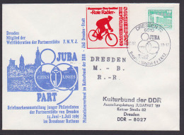Cyclistes Rouges Rote Radler Vignette , Biker Dresden JUBA PART 1989, Schmuckbrief Hofkirche Sonderbeförderung - Cycling