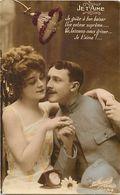"""- Themes - Ref-A455- Guerre 1914-18- Poilu -  Couple - """" Je T 'aime """" - Carte Bon Etat - - Patriotiques"""