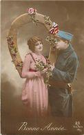- Themes - Ref-A454- Guerre 1914-18- Bonne Année - Couple - Fer A Cheval - Porte Bonheur - Carte Bon Etat - - Patriotiques