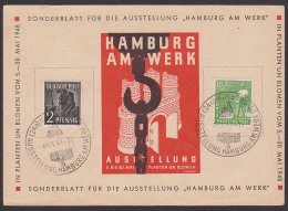 """Hamburg Gedenkblatt Sonderblatt Ausstellung """"Hamburg Am Werk"""" 1948, Planten Un Blomen - Amerikaanse, Britse-en Russische Zone"""