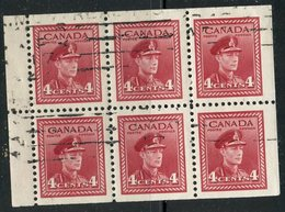 1943 4 Cent King George VI War Issue #254a Booklet Pane Of 6 - Usati