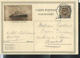 Carte Obl.  N° 10.22. Oostende - Dover  TSS Prinses Astrid   Obl. La Louvière 1931 - Cartes Illustrées
