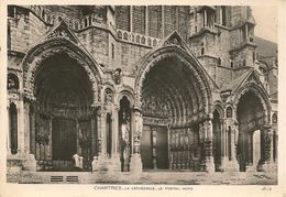 CPA-1950-28- CHARTES-CATHEDRALE-FACADE-PORTAIL NORD-TBE - Chartres