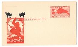 UXC1 Halloween Black Cat Witch Cachet 4c Eagle Aiir Mail Unused Postal Card - 1941-60