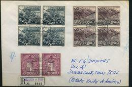 1971 , ANDORRA ESPAÑOLA , ED. 65 (4) , 66 (4) , 64 (2) . CERTIFICADO ANDORRA LA VIEJA - TEXAS , LLEGADA - Lettres & Documents