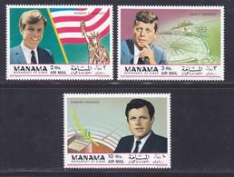 MANAMA AERIENS N°   25 ** MNH Neufs Sans Charnière, 3 Valeurs, TB (D6205) Frères Kennedy - Manama