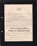 ANCOURT DIEPPE Alfred Comte De BELLEVILLE Château Du PONTRANCART 57 Ans 1894 Famille De VALORI De BONNAULT - Obituary Notices