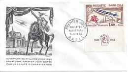 ENVELOPPE 1er JOUR - PHILATEC N° 1422 - PARIS 1964 - FDC