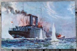 1856 CPA GUERRE 14 18 HMS CARMANIA  CROISEUR - Guerra 1914-18
