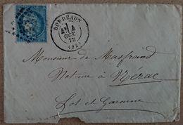 Marcophilie-courrier 1872 Oblitération Bordeaux Nérac  (5) - Postmark Collection (Covers)
