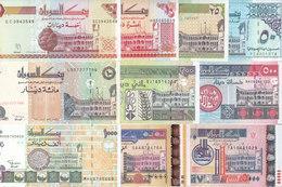 SUDAN 5 10 25 50 100 200 500 1000 2000 5000 DINARS 1992 2002 P-51 :63 SET 10 UNC - Soudan